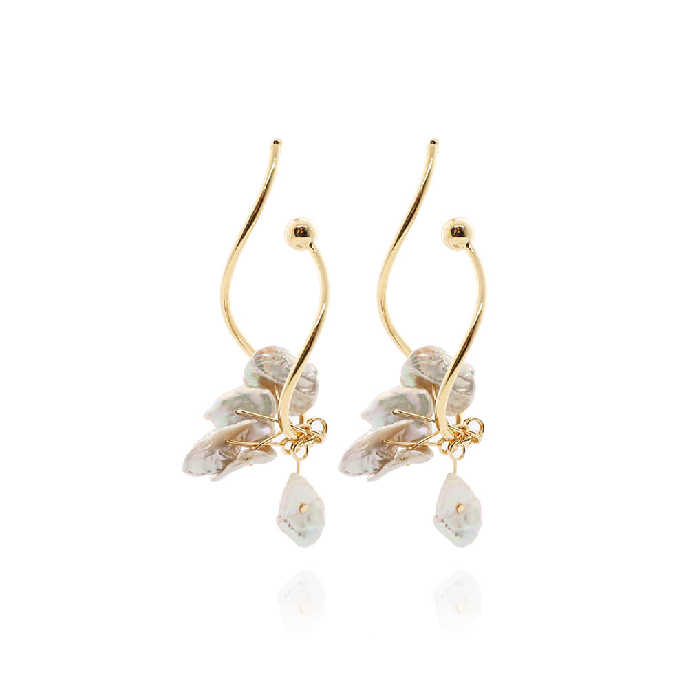 Gold Line Natural Pearl Drop Earrings