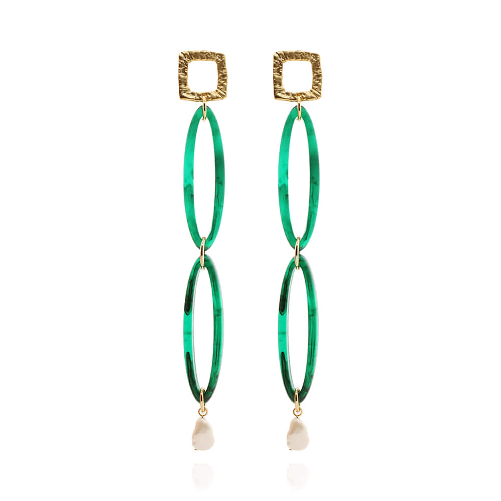 Green Formica Long Drop Earrings