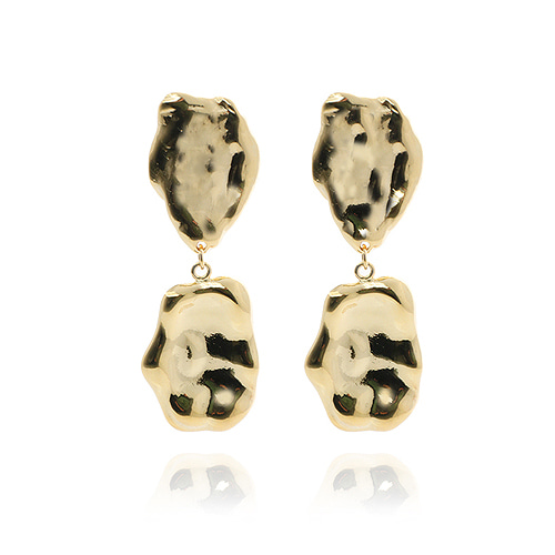 Crumple Gold Drop Earrings