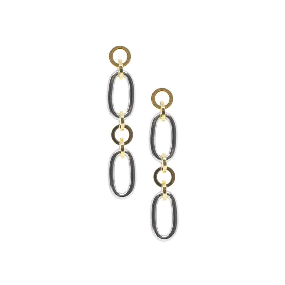 Two Tone Chain Drop Earrings
